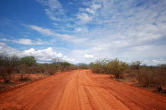 Red road. A red road in the Tsavo-East national park Royalty Free Stock Images
