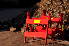 Red road construction signs. Couple of red road construction signs Royalty Free Stock Photography