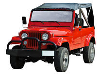 Red road vehicle on white background Stock Photo