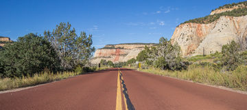 Red road through Zion National Park in Utah Royalty Free Stock Photos