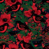Red robin poppy seamless pattern Royalty Free Stock Photography