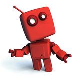 Red Robot. Red 3D robot looking aroud, isolated on white background royalty free illustration