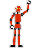 Red Robot. Standing shiny with black joints Royalty Free Stock Image