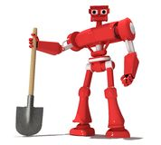 Red robot. Red toy robot keeps shovel Stock Photo