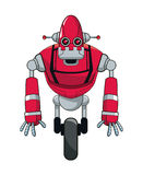 Red robot automation with wheel. Vctor illustration eps 10 Royalty Free Stock Image