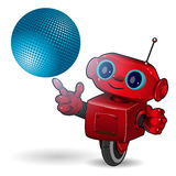 Red robot with blue ball Stock Photo