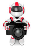 Red robot character the front to shoot the camera toward. Create Royalty Free Stock Photos