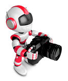 Red robot character to shoot the camera toward the Right. Create Stock Photo