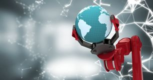 Red robot claw with globe and white interface against blurry grey room. Digital composite of Red robot claw with globe and white interface against blurry grey royalty free illustration