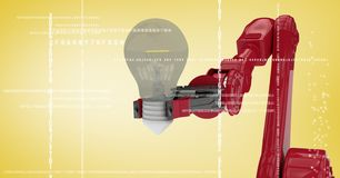 Red robot claw with light bulb behind white interface against yellow background Royalty Free Stock Photo