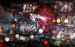 Red robot hacking a system with digital screens 3D rendering. Red robot hacking a system with digital screens on dark background 3D rendering stock illustration