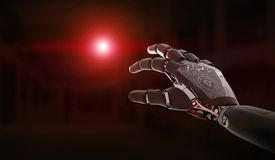 Red robot hand pointing finger 3D rendering. Red robot hand pointing finger on dark background 3D rendering vector illustration
