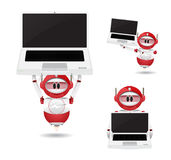 Red robot and laptop Stock Photo