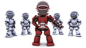 Red robot leading a team stock illustration
