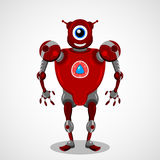 Red robot, mechanical character, . Vector graphic design. Red robot, mechanical character, Vector graphic design royalty free illustration