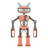 Red Robot with Pincer Hands and Two Horns Art Icon Royalty Free Stock Photography