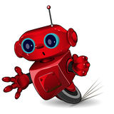 Red robot speed in a bend. Illustration red robot speed in a bend Royalty Free Stock Image