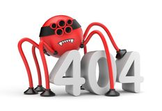 Red robot spider and word 404 error. Internet metaphor Royalty Free Stock Image