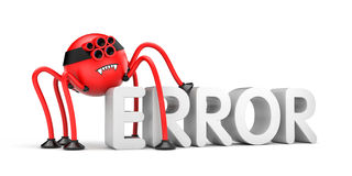 Red robot spider and word ERROR. Internet metaphor Royalty Free Stock Photography
