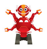 Red robot vector. Funny red robot truck children toy Royalty Free Stock Photography