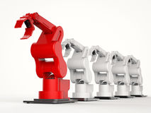 Red robotic arm as a leader stock illustration