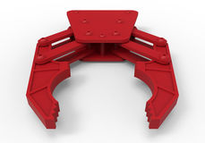 Red robotic claw. 3D rendered illustration of a red robotic claw. The object is  on a white background with shadows Royalty Free Stock Photos