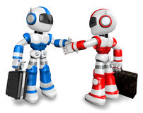 Red robots and the blue robots. Royalty Free Stock Image