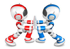Red robots and Blue robots Pushing each other. Create 3D Humanoi Royalty Free Stock Images