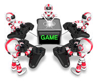 Red robots playing games. Create 3D Humanoid Robot Series. Stock Photos