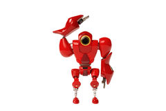 A red robots are saluting. Hand speakers, special robots Stock Photography