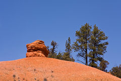 Red Rock. Solitary rock against blue sky in Red Canyon, Utah royalty free stock photo