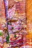 Red Rock Abstract Near Royal Tombs Petra Jordan. Red Rock Abstract Petra Jordan  Built by the Nabataens in 200 BC to 400 AD.  Rose Red canyon walls create many Royalty Free Stock Image