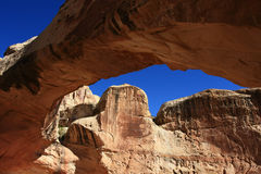 Red Rock Arch. View from underneath red rock arch in canyon country of desert southwest Stock Photography