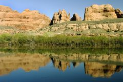 Red Rock in Arizona. Red rock formation reflected against water in Arizona royalty free stock photography