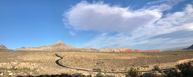 Red Rock Canyon Conservation Area, Nevada, USA. View of Red Rock Canyon Loop along a hiking trail in La Madre Mountain and Rainbow Mountain Wilderness area just stock photography