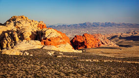 Red Rock Canyon With  Las Vegas in The Distance Stock Photography