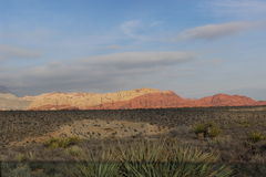 Red Rock Canyon Las Vegas Nevada. Red Rock Canyon with Desert tundra in foreground background shows slight clouds over canyon rock Stock Image