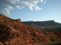 Red Rock Canyon Las Vegas. Tall red rocks off the road Royalty Free Stock Photos