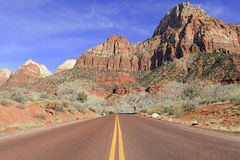 Red rock canyon and mountains, Zion National Park, Utah Stock Images