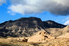 Red Rock Canyon national Conservation Area in Las Vegas Nevada. With clouds over head blue sky royalty free stock images