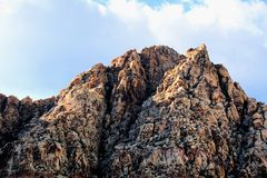 Red Rock Canyon national Conservation Area in Las Vegas Nevada. With clouds over head blue sky royalty free stock photos