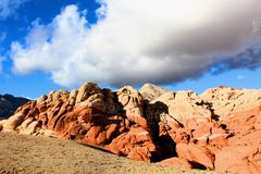 Red Rock Canyon national Conservation Area in Las Vegas Nevada. With storm clouds over head royalty free stock images