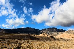 Red Rock Canyon national Conservation Area in Las Vegas Nevada. With clouds over head blue sky stock photos
