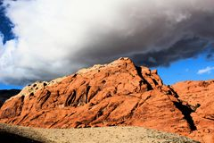 Red Rock Canyon national Conservation Area in Las Vegas Nevada. With storm clouds over head stock images