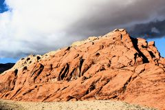 Red Rock Canyon national Conservation Area in Las Vegas Nevada. With storm clouds over head stock image