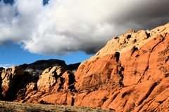 Red Rock Canyon national Conservation Area in Las Vegas Nevada. With storm clouds over head royalty free stock photo