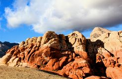 Red Rock Canyon national Conservation Area in Las Vegas Nevada. With storm clouds over head stock photography