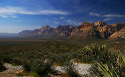 Red Rock Canyon, Desert and Mountains in Nevada. Majestic landscape vista looking south to the mountains at Red Rock Canyon National Conservation Area near Las royalty free stock image
