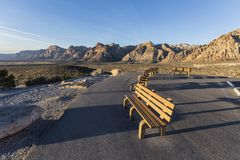 Red Rock Canyon National Conservation Area Overlook. Welcoming benches in early morning light at Red Rock Canyon National Conservation Area scenic drive overlook Stock Photo