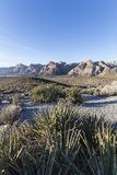 Red Rock Canyon National Conservation Area Scenic Overlook. Early morning view from scenic loop road overlook at Red Rock Canyon National Conservation Area near Stock Photo